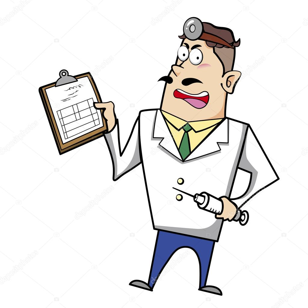 cartoon doctor with clipboard and syringe u2014 stock vector