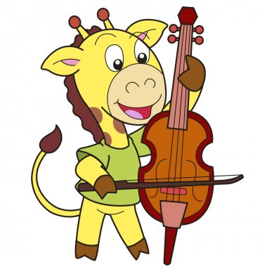 Cartoon Giraffe Playing a Cello
