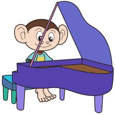 Cartoon Monkey Playing a Piano