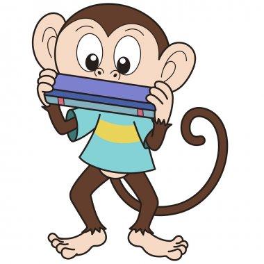 Cartoon Monkey Playing a Harmonica