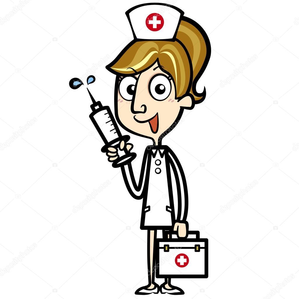 Ilk Yardım çantası Ve şırınga Ile Karikatür Hemşire Stok Vektör