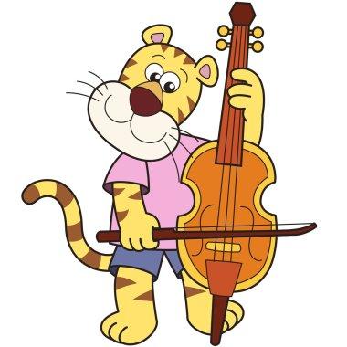 Cartoon Tiger Playing a Cello