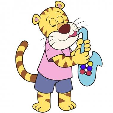Cartoon Tiger Playing a Saxophone