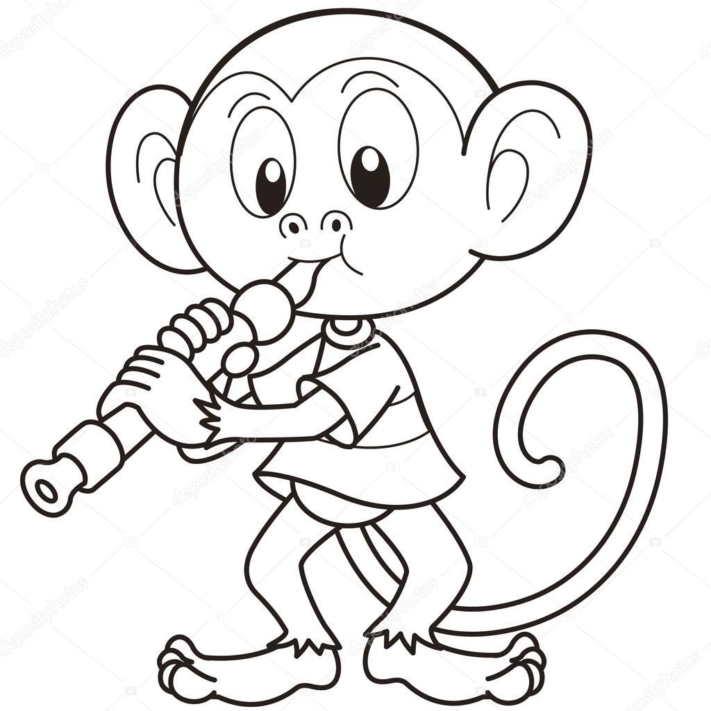 mono de dibujos animados jugando un oboe — Vector de stock ...