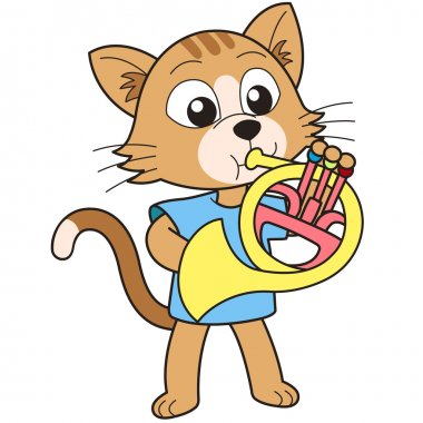 Cartoon cat playing a French horn. clip art vector