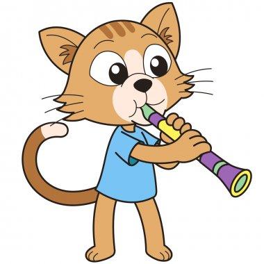 Cartoon Cat Playing a Clarinet