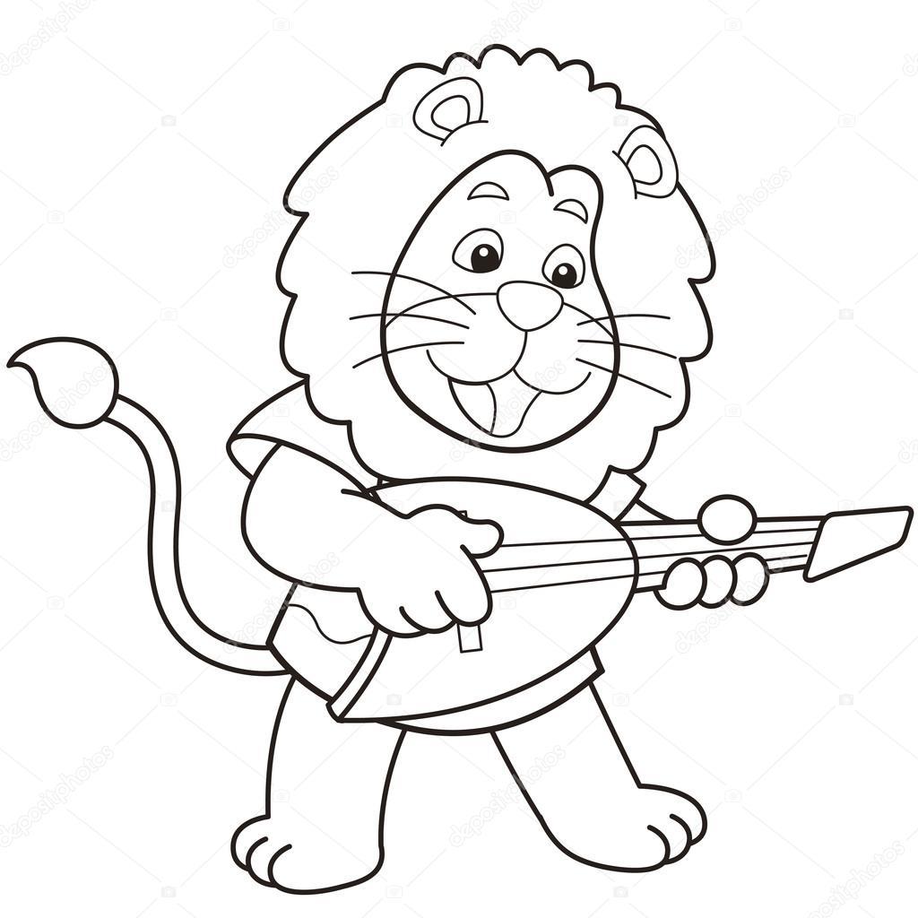 León de dibujos animados tocando una guitarra eléctrica — Vector de ...