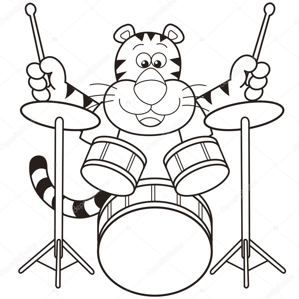 cartoon tiger playing drums — stock vector © kchungtw