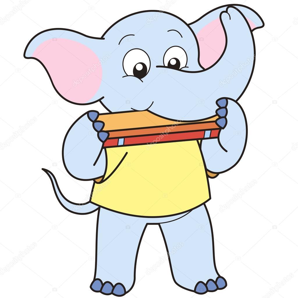 Cartone animato elefante giocando un armonica — vettoriali