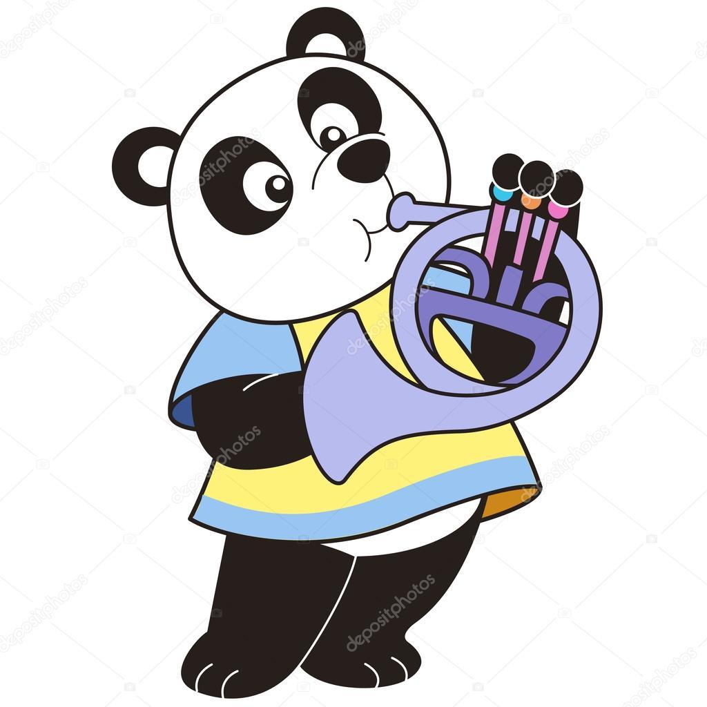 Cartone animato panda suonando un corno francese