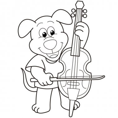 Cartoon Dog Playing a Cello