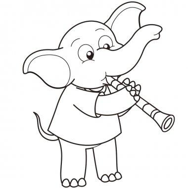 Cartoon Elephant Playing a Clarinet