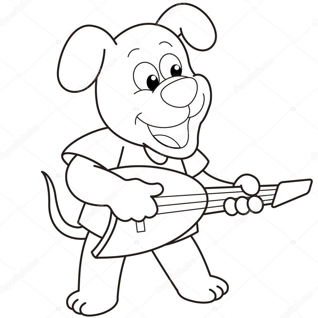 c u00e3o dos desenhos animados  tocando uma guitarra el u00e9trica  u2014 vetores de stock  u00a9 kchungtw  22779870