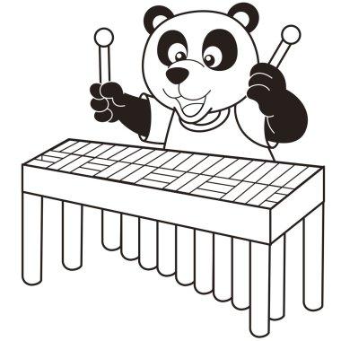 Cartoon Panda Playing a Vibraphone