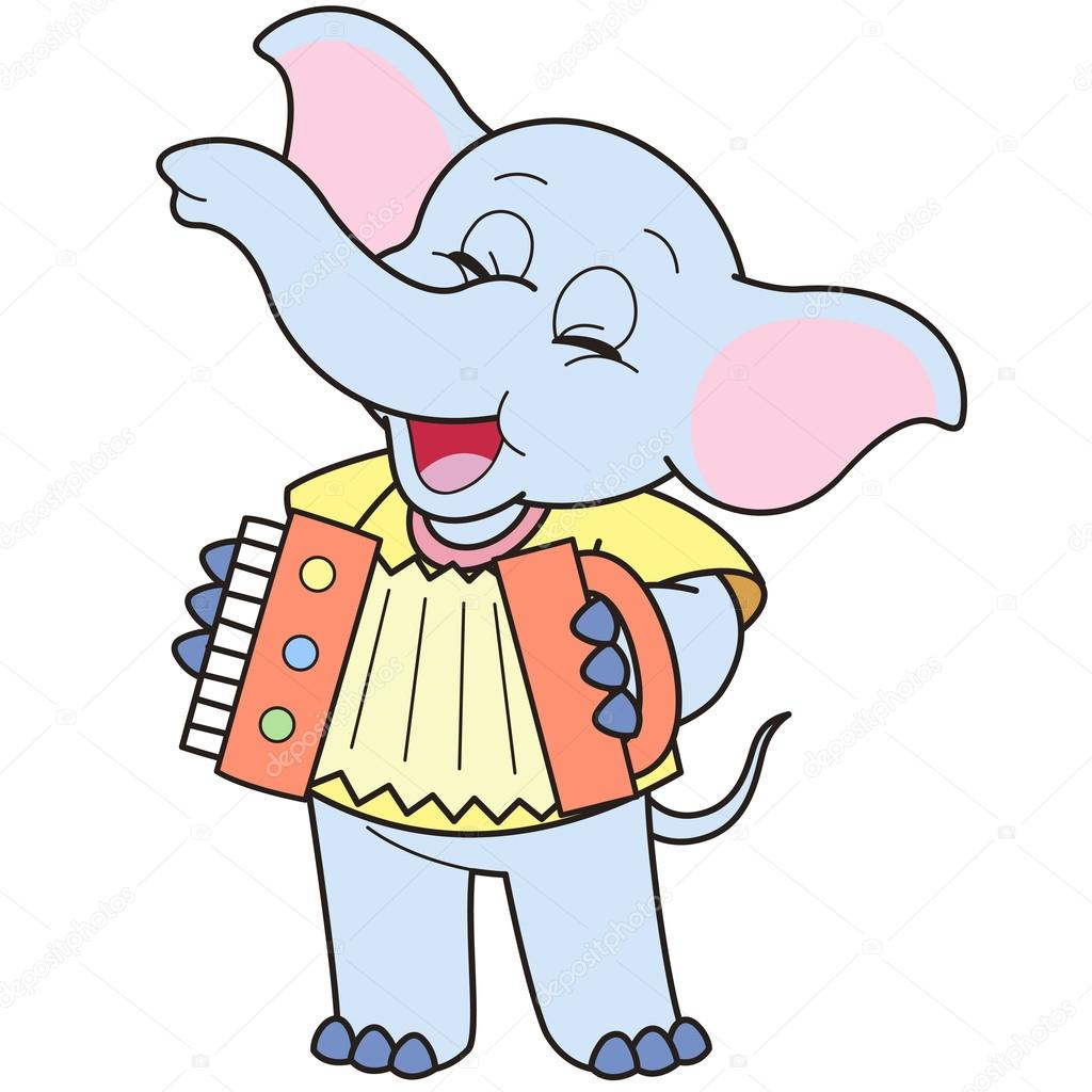 Dessin anim l phant jouant de l 39 accord on image - Elephant image dessin ...