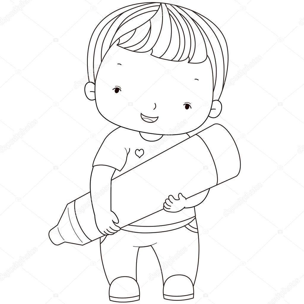 Pastel Boya Ile Bir çocuk Boyama Resmi Stok Vektör Kchungtw