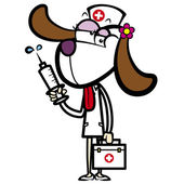 cartoon dog nurse with first aid kit and syringe