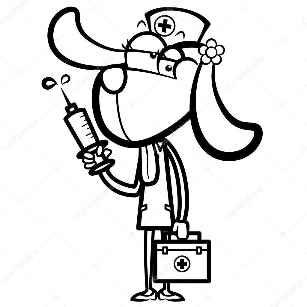 enfermera de perro de dibujos animados con jeringa y botiquín de ...