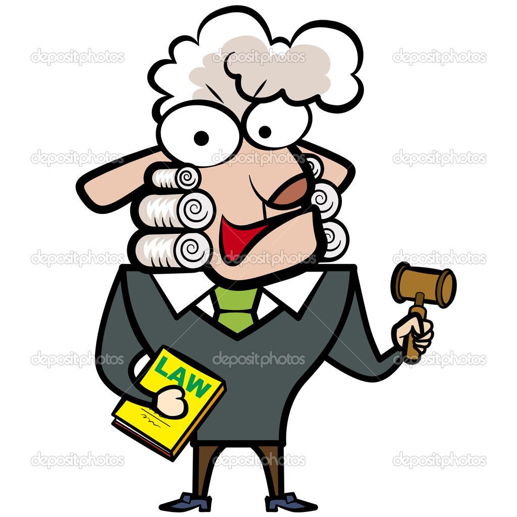 Cartone animato giudice di pecore con un martelletto e