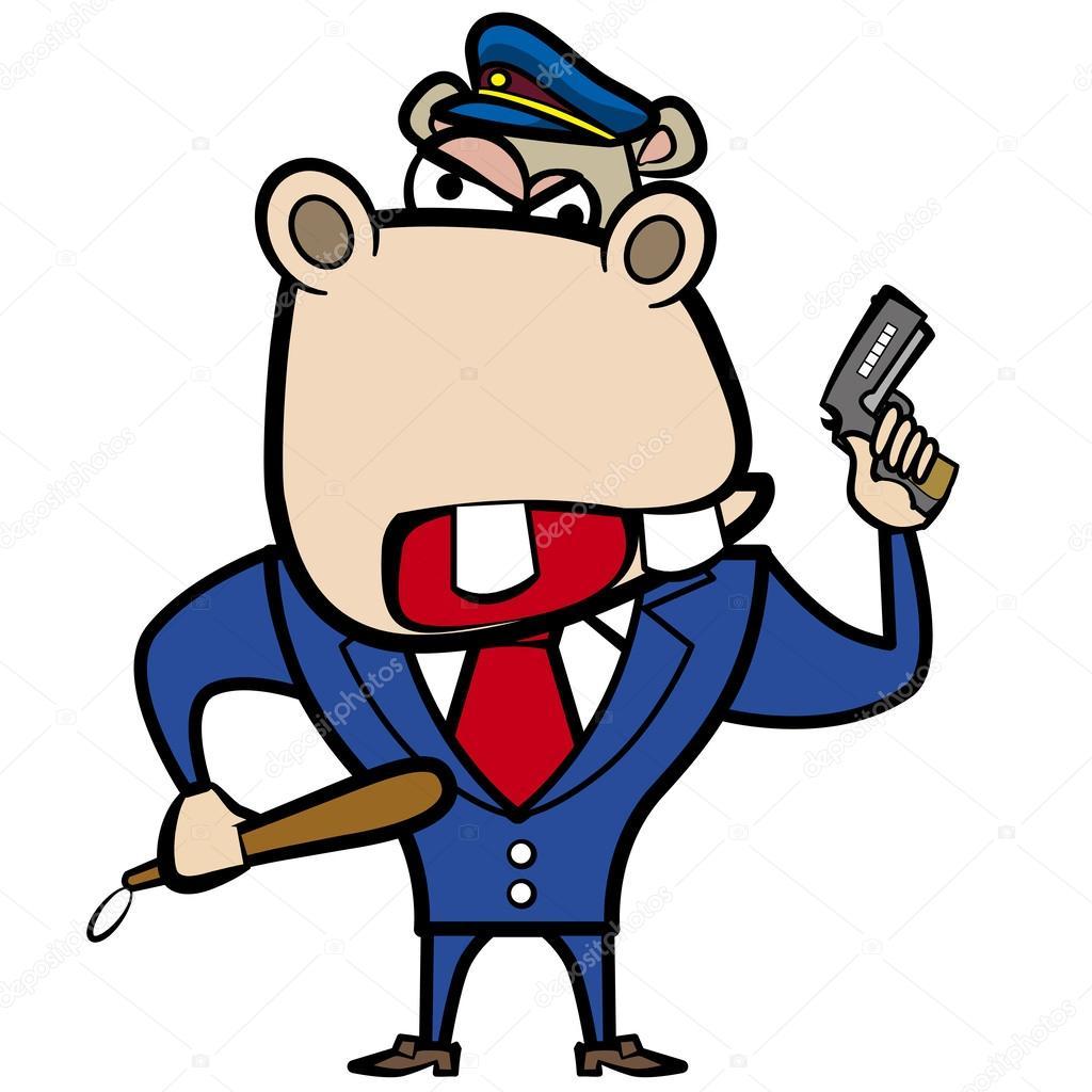 Ufficiale di polizia ippopotamo cartone animato con