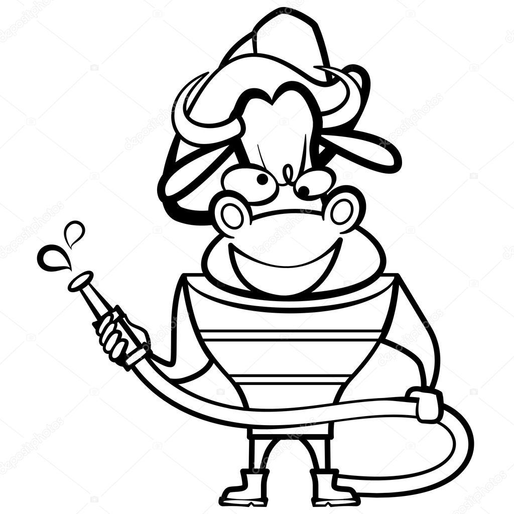 Karikatür Boğa Itfaiyeci Boyama Stok Vektör Kchungtw 25956501