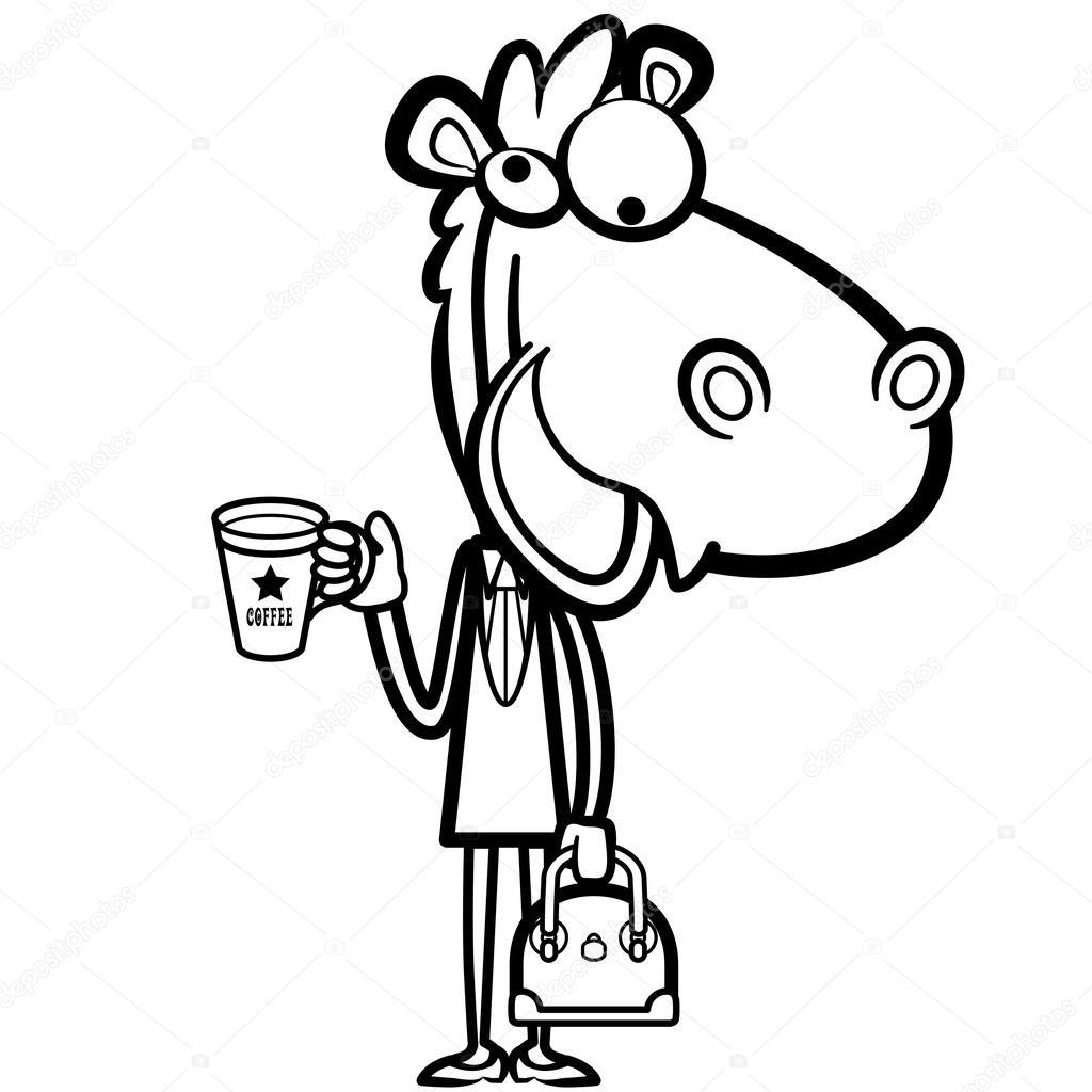 caballo de oficina de dibujos animados para colorear con una taza de ...