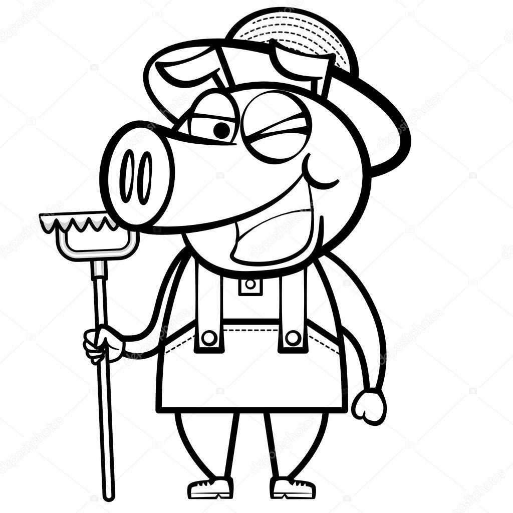 criador de cerdos de dibujos animados para colorear con rastrillo ...