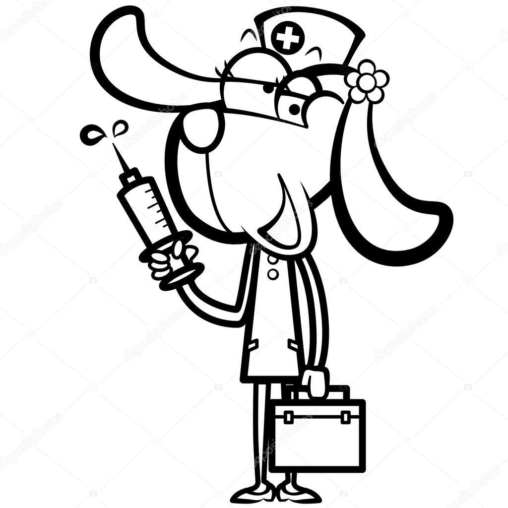 Dibujos Dibujo Jeringa Para Colorear Enfermera De Perro