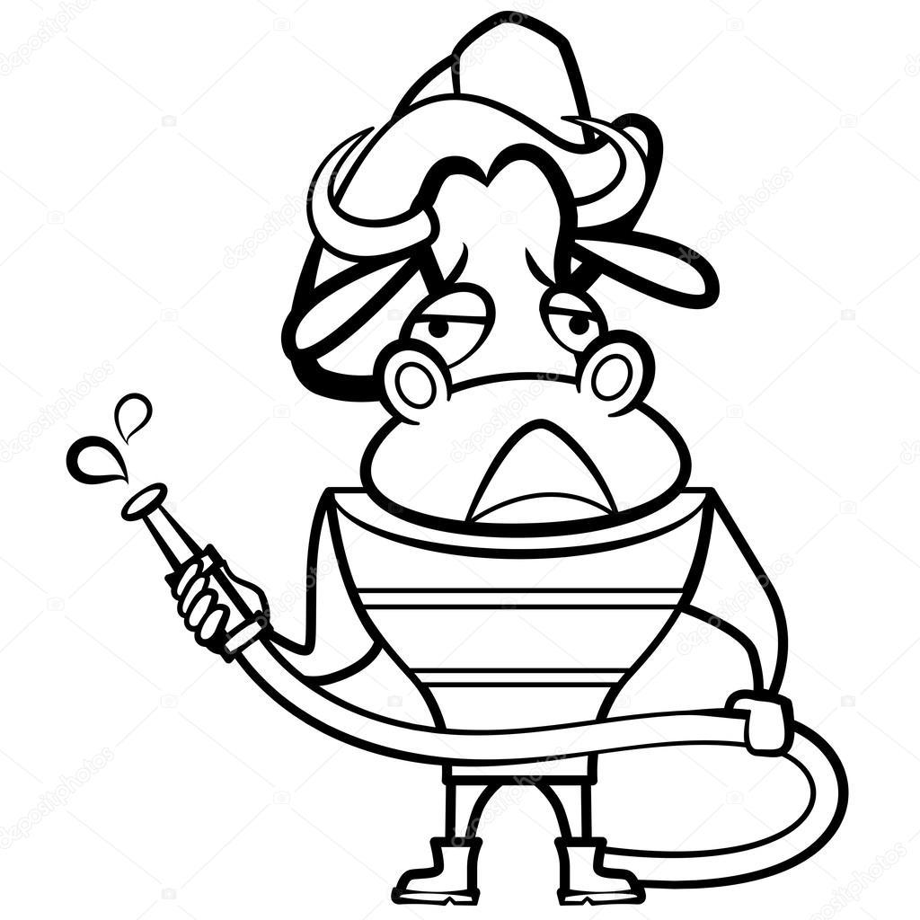 Karikatür Boğa Itfaiyeci Boyama Stok Vektör Kchungtw 25956575