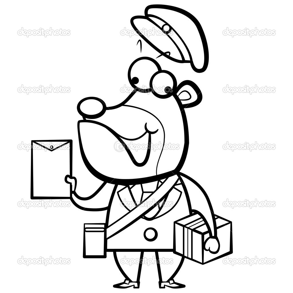 Karikatür Ayı Postacı Mektubu Ve Paket Ile Boyama Stok Vektör