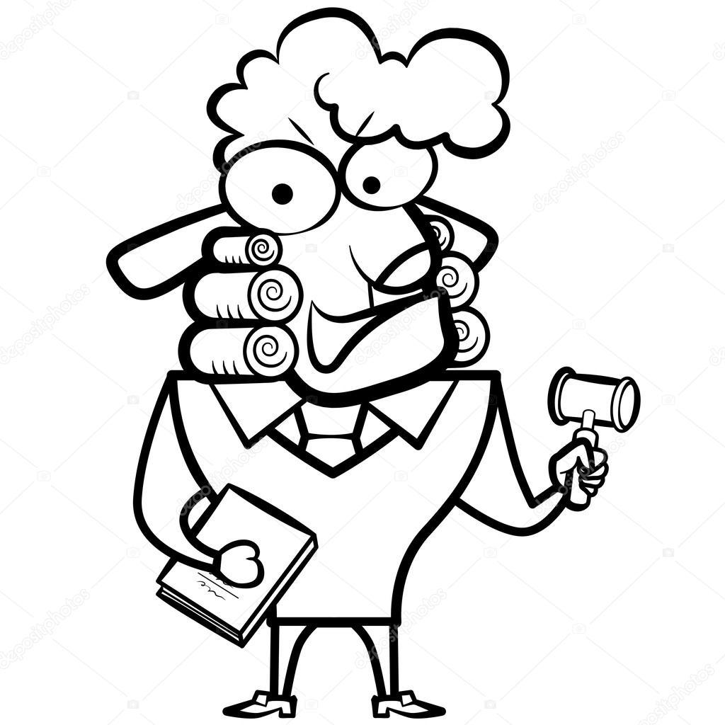 Juez de ovejas con un mazo y ley del libro de dibujos animados para ...