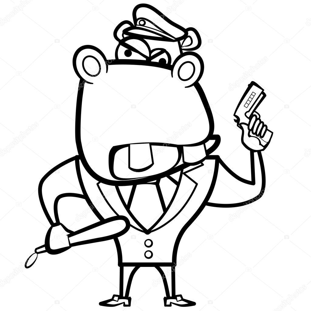 Polis Memuru Silahlı Karikatür Hippo Boyama Stok Vektör Kchungtw