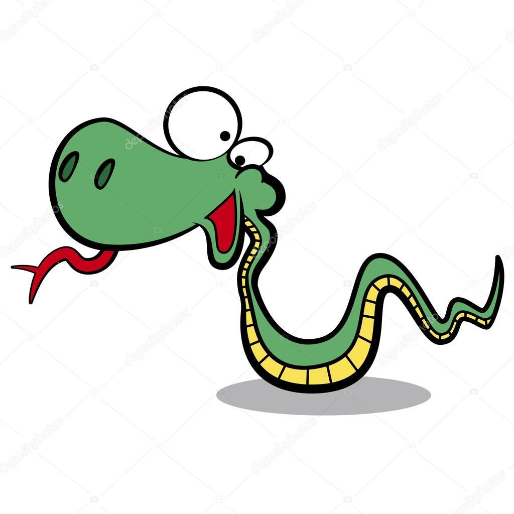 Serpente di cartone animato umorismo in esecuzione con