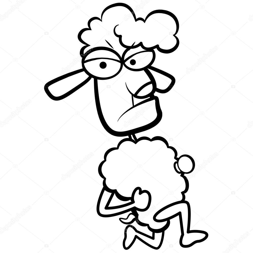Beyaz Arka Plan Ile çalışan Mizah Karikatür Koyun Boyama Stok