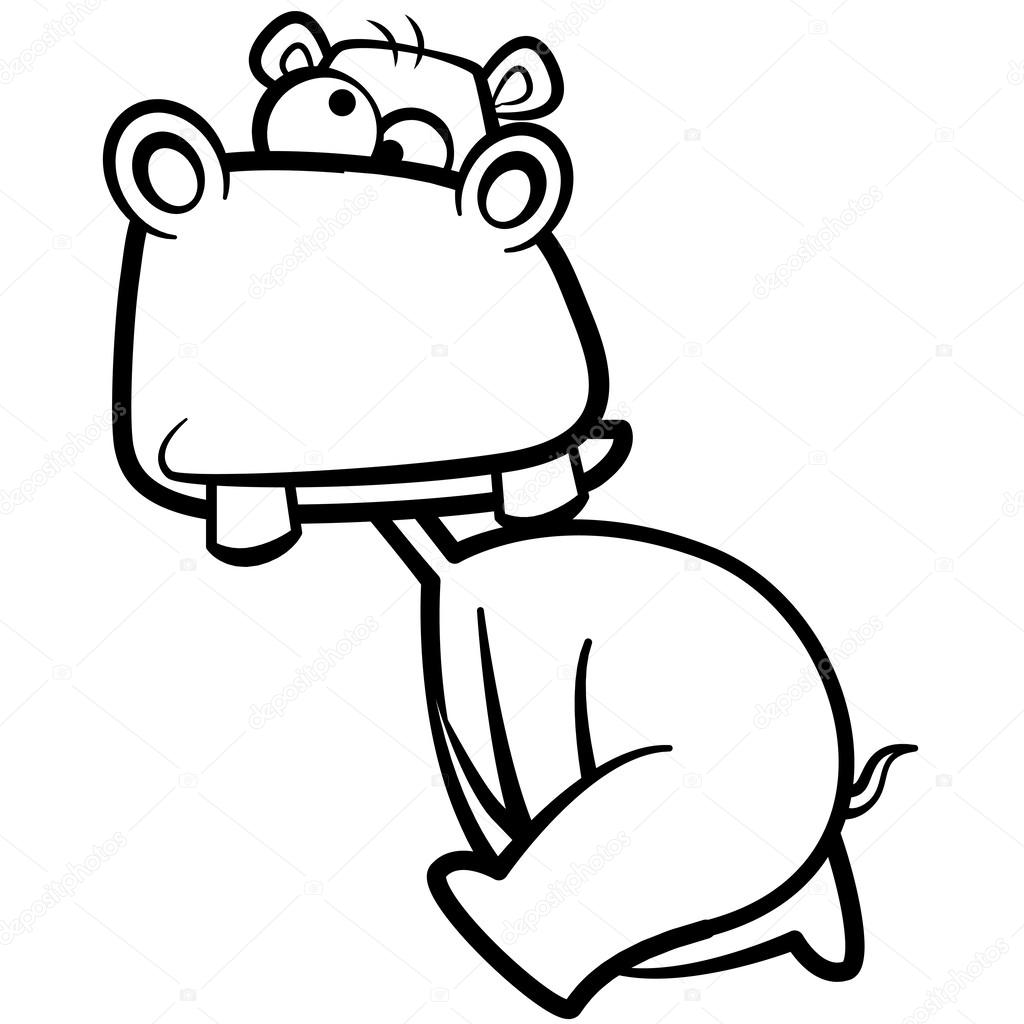 Coloriage Hippopotame De Dessin Animé Humour Avec Fond Blanc