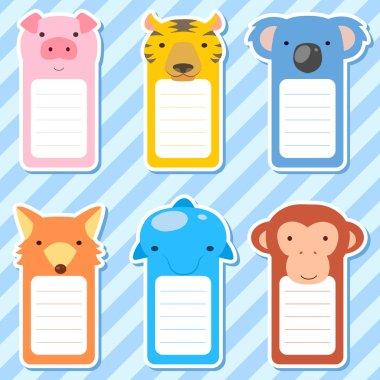 cute animals set of scrapbook elements