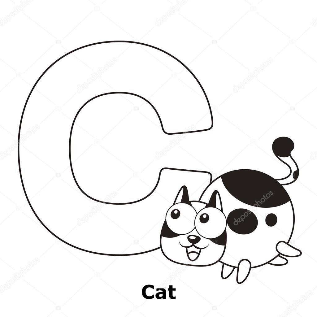alfabeto para colorear para niños, c — Archivo Imágenes Vectoriales ...