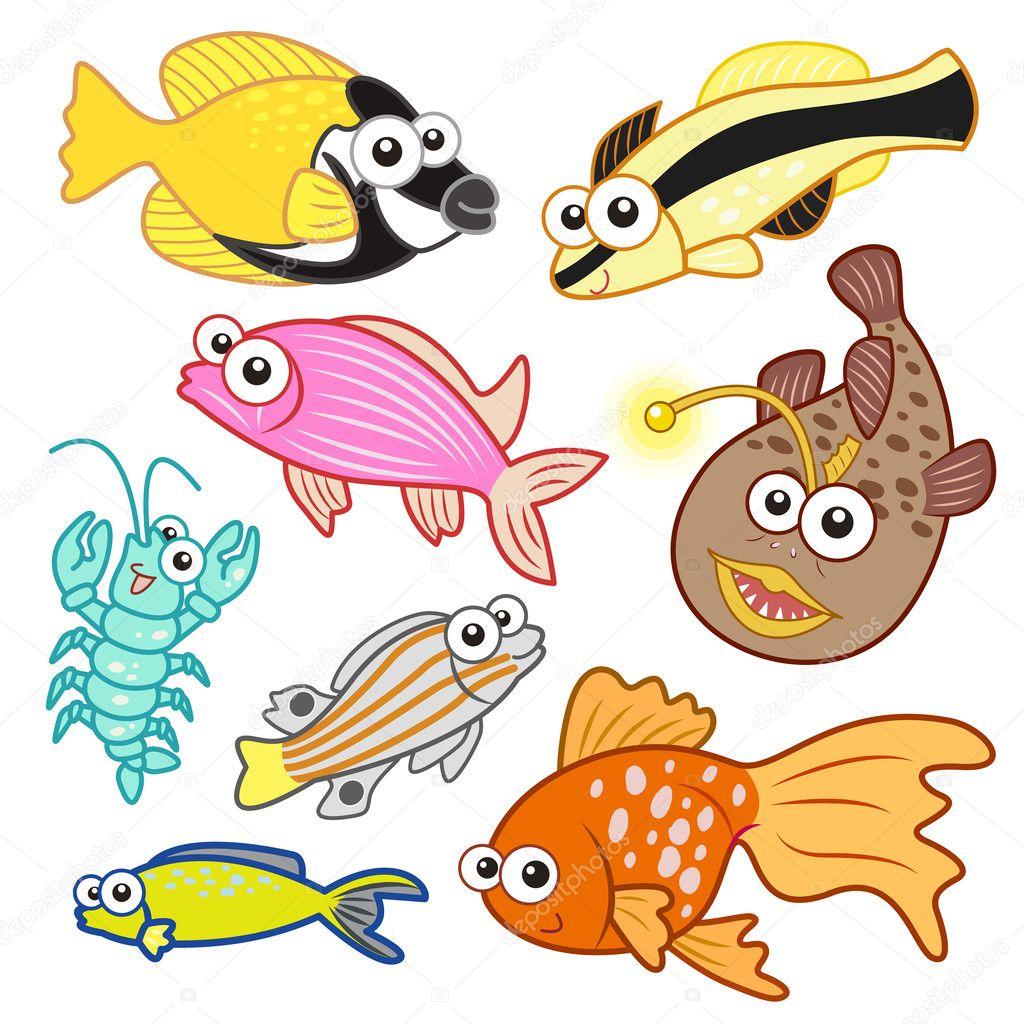 Set Kreslenych Morskych Zivocichu S Bilym Pozadim Stock Vektor