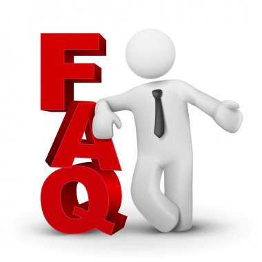 3d business man presenting word FAQ
