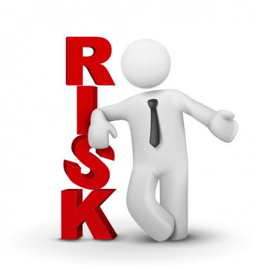3d businessman presenting concept word risk