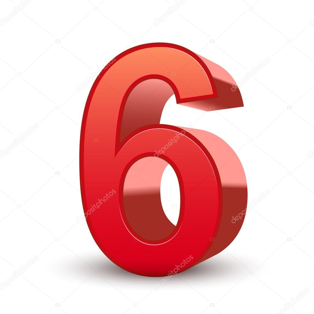 3d shiny red number 6 isolated white background — Vector by kchungtw