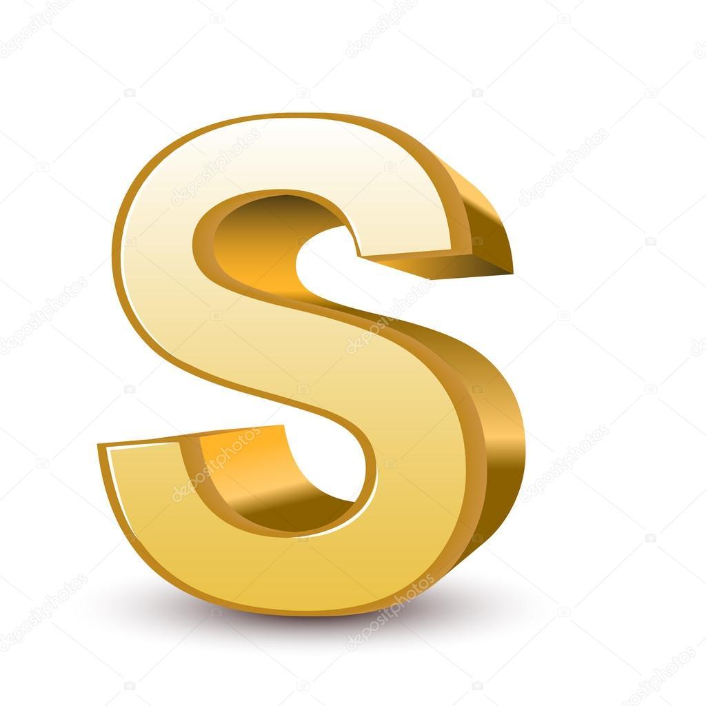 S Alphabet 3d 3d golden lette...