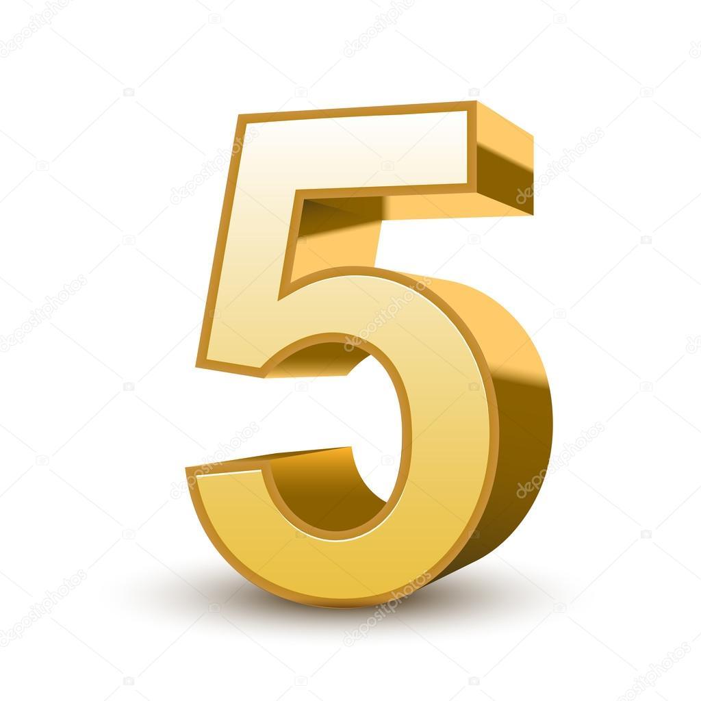 numero 5 3d 3d brillante oro número 5 vector de stock kchungtw