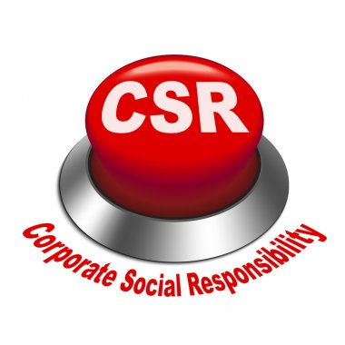 3d illustration of csr corporate social responsibility button