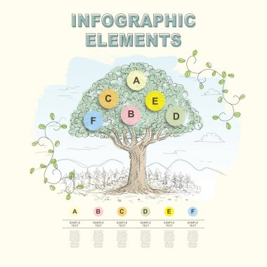 hand draw abstract tree infographics