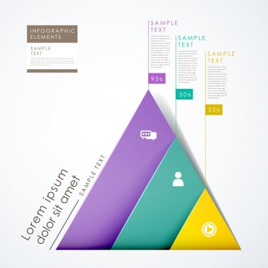 3d paper abstract pyramid infographics