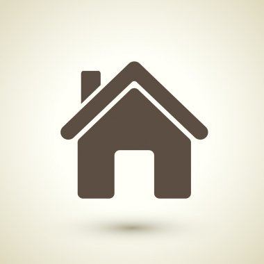 Retro style home icon isolated on brown background stock vector