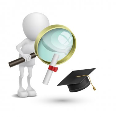 3d person watching the graduation cap and diploma with a magnify