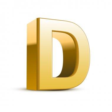 3d golden letter D isolated white background stock vector
