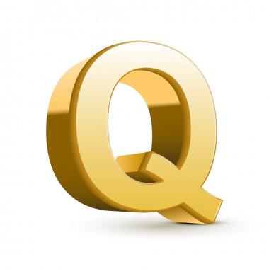 3d golden letter Q